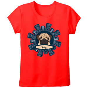 Camiseta manga corta Diseño Pug Rascacielos - Tallas grandes Mujer