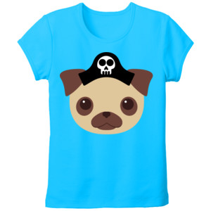 Camiseta manga corta Diseño Perro Pirata - Tallas grandes Mujer