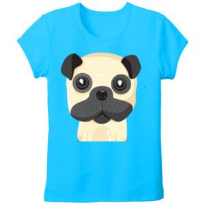 Camiseta de manga corta Diseño Perro Sentado - Tallas Grandes Mujer