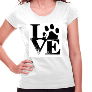Camiseta manga corta Diseño Love Huella - Mujer