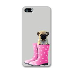 Funda de iPhone (todos los modelos) Diseño Cachorro Pug Carlino dentro de bota de agua