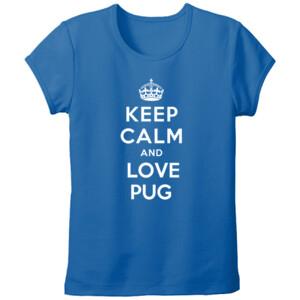 Camiseta azul diseño Keep calm and love pug - Mujer
