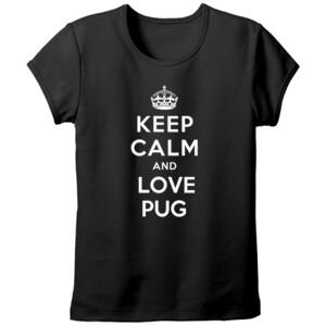 Camiseta negra diseño Keep calm and love pug - Mujer