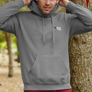 Sudadera gris con capucha diseño Pug Life - Hombre