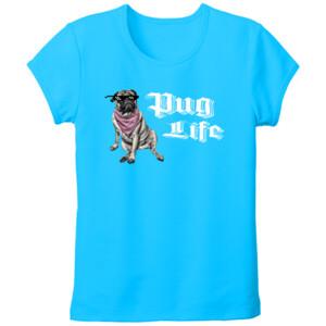 Camiseta turquesa de manga corta diseño Pug Life - Mujer