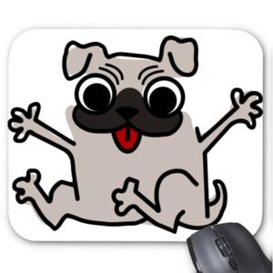 Alfombrilla de ratón diseño de caricatura Pug gracioso