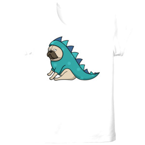 Camiseta blanca manga corta diseño Dino pug - Tallas grandes