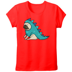 Camiseta roja manga corta diseño Dino pug - Tallas grandes