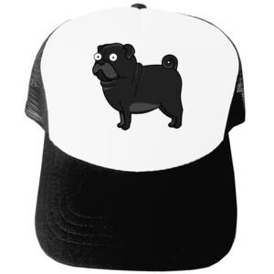 Gorra diseño gracioso de Perro Pug Carlino negro caricatura