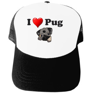 Gorra diseño I Love Pug con Dibujo de Carlino