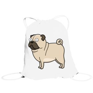 Bolsa de saco Diseño gracioso de Perro Pug Carlino caricatura