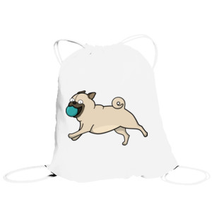 Bolsa de saco Perro Pug Carlino corriendo con pelota