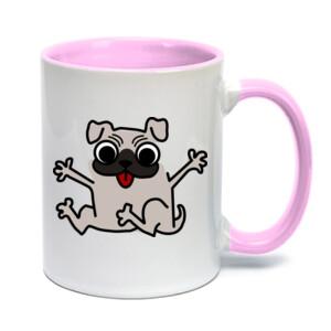 Taza con asa e interior de color y diseño de caricatura Pug gracioso