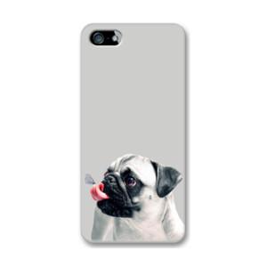 Funda de iPhone (todos los modelos) diseño Pug carlino con mariposa