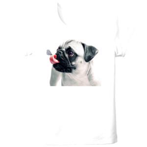 Camiseta de manga corta con Pug carlino con mariposa - Tallas grandes