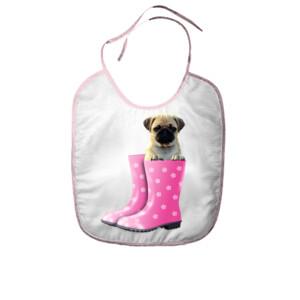Babero con Diseño de Cachorro de Pug Carlino dentro de una bota de agua