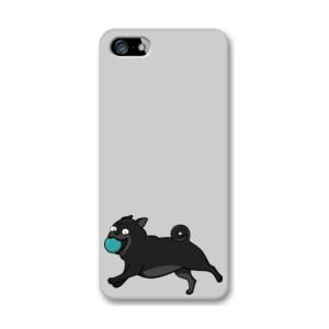 Funda de iPhone (todos los modelos) Diseño Perro Pug Carlino negro corriendo con pelota