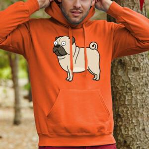 Sudadera con capucha Diseño gracioso de Perro Pug Carlino caricatura