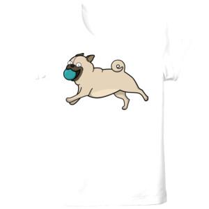 Camiseta manga corta Perro Pug Carlino corriendo con pelota - Tallas grandes