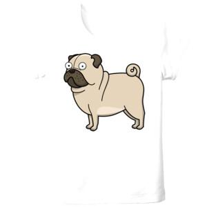 Camiseta manga corta Diseño gracioso de Perro Pug Carlino caricatura - Tallas grandes
