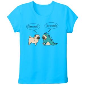 Camiseta manga corta Diseño Dino Pug - Tallas grandes