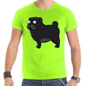Camiseta manga corta Diseño gracioso de Perro Pug Carlino negro caricatura