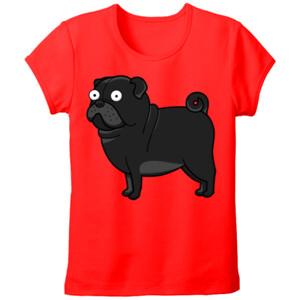 Camiseta Diseño gracioso de Perro Pug Carlino negro caricatura - Tallas grandes