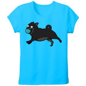 Camiseta Diseño Perro Pug Carlino negro corriendo con pelota - Tallas grandes