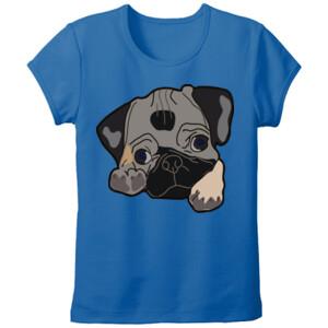 Camiseta manga corta Dibujo de Perro Pug Carlino - Tallas grandes