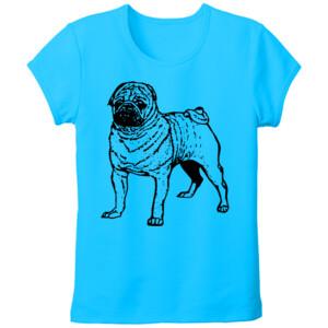 Camiseta Diseño Perro Pug Dibujado - Tallas grandes
