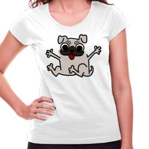 Camiseta manga corta Diseño de caricatura Pug gracioso - Mujer
