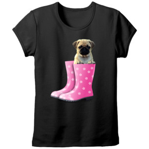 Camiseta manga corta Cachorro Pug Carlino dentro de bota de agua - Tallas grandes