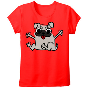 Camiseta manga corta Diseño de caricatura Pug gracioso - Tallas grandes