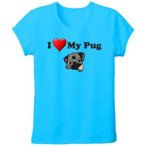 Camiseta Diseño I Love My Pug - Tallas grandes