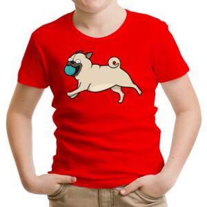 Camiseta manga corta Perro Pug Carlino corriendo con pelota - Niño