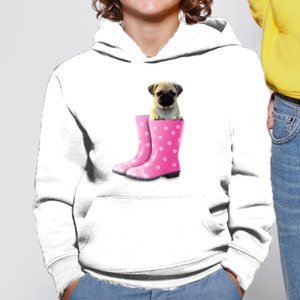 Sudadera con capucha Cachorro Pug Carlino dentro bota de agua - Niño