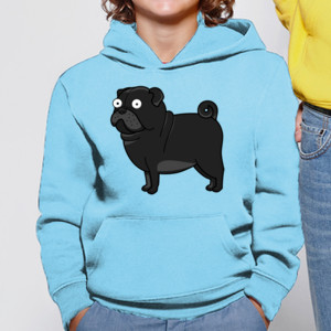 Sudadera con capucha gracioso de Perro Pug Carlino negro caricatura - Niño