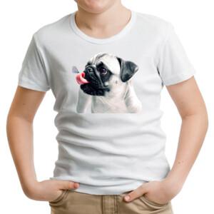 Camiseta manga corta Pug carlino con mariposa - Niño
