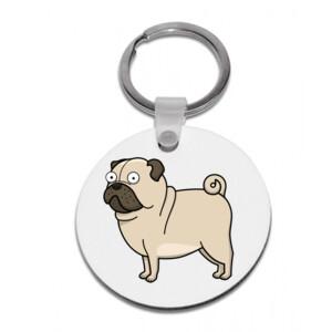 Llavero Diseño gracioso de Perro Pug Carlino caricatura